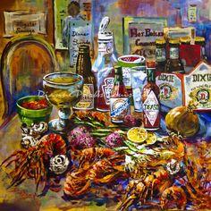 crawfish painting, crawfish boil, louisiana seafood, new orleans art