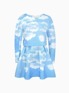 Cloud Printed Blouse + skirt