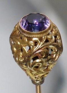 antique hat pins | Vintage Antique Amethyst Glass Paste Ornate Gilt Hatpin Hat Pin used ...