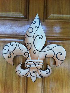 Wooden hand painted Fleur De Lis by michelle schulten Painted Wooden Boxes, Painted Doors, Wooden Doors, Hand Painted, Wooden Hand, Wooden Diy, Leis, Saints Wreath, Diy Fleur