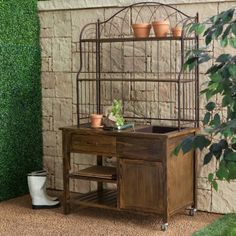 Courtyard Rustic Potting Bench; metal hutch is great looking and good for hanging stuff as well