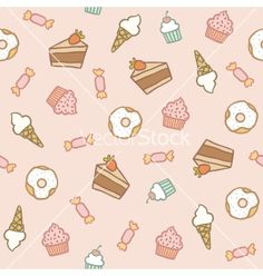Pink pattern with different sweets vector dessert doodles by kondratya on VectorStock®