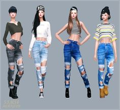 Unisex rolled up destroyed jeans for The Sims 4