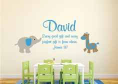 """James 1:17- Bible Scripture Verse Name decal scripture Child Name Personalized Vinyl Decal with elephant and Giraffe boys Room-19"""" x 49"""""""