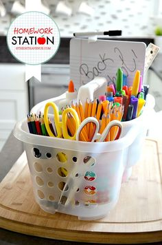 Organization - Back to School Homework Station at the36thavenue.com ...I love this idea!