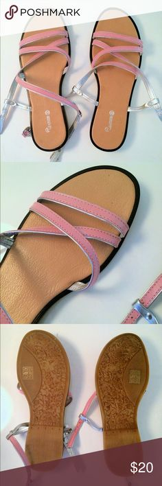 Pink Strap Sandals 👡 Like brand new, worn maybe once or twice. For a thin feet. Says Euro 39 but better for 38.5 or 38 (8.5 or 8) Leather  Shoes