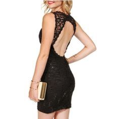 Black lace and sequins dress Used once , from Windsor WINDSOR Dresses Mini