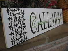 Items similar to Damask Custom Sign Personalized Last Name Vinyl Letters 2 Colors Gift For Wedding Anniversary and More on Etsy Vinyl Lettering Projects, Vinyl Projects, Silhouette Portrait Projects, Silhouette Cameo Projects, Paint Stick Crafts, Vinyl Crafts, Silhouette Sign, Cricut Vinyl, Vinyl Decals