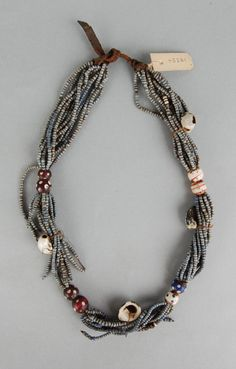 South Africa | Necklace; glass beads, leather, shells and natural fibre | Possibly from the Xhosa people | ca. 1891 or earlier