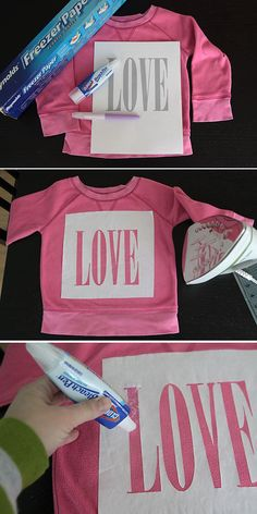 "DIY Valentine's Day ""love"" freezer paper stencil tee - It's Always Autumn... Could do this with an design!"