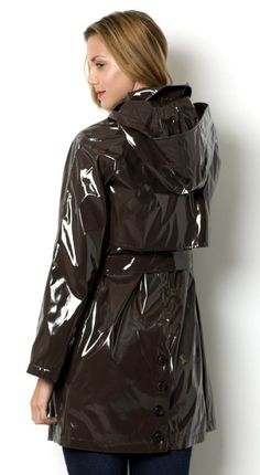Lady wearing Brown PVC Hooded Raincoat (Back view) Vinyl Raincoat, Pvc Raincoat, Hooded Raincoat, Long Raincoat, Plastic Raincoat, Stylish Raincoats, Raincoats For Women, Jackets For Women, Black Raincoat