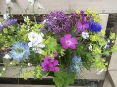 Bouquet of alliums, cornflower, gypshophila, corncockle, lady's mantle, nigella, hesperis