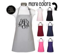 Items similar to Monogrammed Aprons Extra Long Ties, Personalized Aprons, Custom Aprons, Monogram Design, Fall Shirts, Gifts For Her, Trending Outfits, College Apartments, Ship
