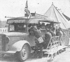 A mobile office of the Assistance Board, the first of its kind would tour heavily raided areas to bring relief in money and coupons to blitzed towns. The crew comprised of fourteen Civil Servants who between them spoke many languages. Mobile Office, Languages, Civilization, Wwii, Coupons, Monster Trucks, Bring It On, Tours, Money