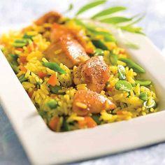 Arroz de pollo con verduras al azafrán #recipes #cuisine