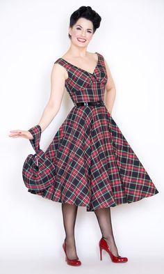 Saturday Night Pin Up Dress in Black Tartan Plaid $156.00
