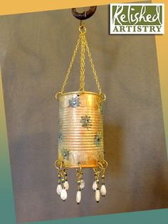 Tin Can Mobile with Rhinestones, Patina, and Beads