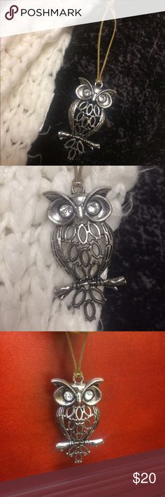 Silver Owl Charm! Beautiful!! ⭐️⭐️⭐️ Unique Silver Owl Charm! Rhinestone/silver owl.  Periwinkle! Can be worn as necklace or any kind of charm. Eye-catching! ⭐️ Jewelry