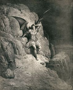 Illustration of Lucifer from Paradise Lost by Gustave Dore Classic Art, Milton Paradise Lost, Gustave Dore, Satanic Art, Comics Artist, Angels And Demons, Illustration Art, Art, Dark Art