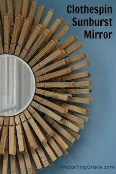 DIY Sunburst Clothespin Mirror for laundry/mudroom