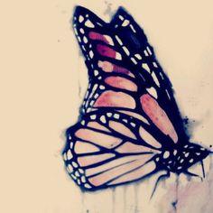 a watercolor butterfly - like the detail for tatt