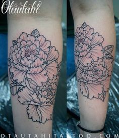 This was taken right after the tattoo was finished. Two b/w Peonies done on my left inner forearm by Brock Fidow at Otautahi Tattoo in Auckl...