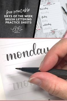 Learn to brush letter with free printable practice sheets. These lettering worksheets for the days of the week will have you hand lettering like a pro for your bullet journal or just because. - Brush Lettering Practice Sheets Days of the Week