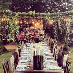 SAMANTHA WILLS - Yellowglen Peacock Lane by SW // www.peacocklane.com; Bohemian Luxury Wine Sparkling Champagne Celebrations Outdoor Dining Blooms Decadent Table Setting Moonlit Fairy Lights