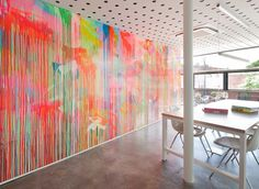 creative meeting room with colorful wall painting Imaginative Workplace Interior Style Of Moor Street Studio By Clare Cousins home decorati. Office Interior Design, Office Interiors, Interior Styling, Design Studio, Clare Cousins, Architects Melbourne, Drip Painting, Painting Walls, The Design Files