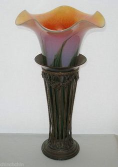 GORGEOUS Signed LUNDBERG STUDIOS Glass VASE in SHEFFIELD Silver on Copper CAGE