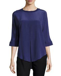 5808c7206897f Joseph Silk Half-Sleeve Shirt w Ribbed Trim