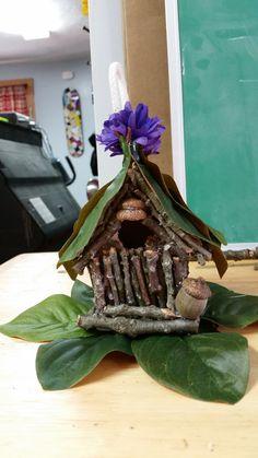 $1 bird house to fairy house.