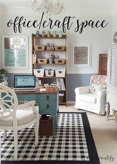 craft room makeovers Wow, I turned my tiny dining room into a dedicated office and craft space full of farmhouse charm and clever storage! Come by to see all the details! Decoration Ikea, Craft Room Decor, Room Wall Decor, Craft Rooms, Home Office Space, Home Office Design, Home Office Decor, Home Decor, Office Ideas