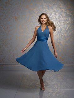 Fabulous best seller blue halter tea length simple bridesmaid gown