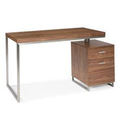 Add style and function into your home office with our Derby Desk. Boasting a small frame with built in drawers, Derby is available in walnut veneer or white lacquer, and accented by stainless steel. It's the perfect small home office desk! Desk With File Drawer, File Cabinet Desk, Modern Wood Desk, Moe's Home Collection, Desk Storage, Desk Organization, My New Room, Home Collections, Office Furniture