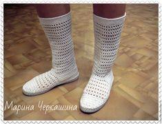 """Купить Вязаная обувь. Вязаные сапожки """"Лето"""" - белый, сапоги женские, сапоги"""