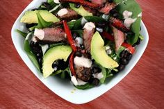 Blackened Steak Salad Recipe | Recipe Girl  (Phase one make alterations/or don't use whats not on your list! IE avocado, beans, and specific dressing lol)
