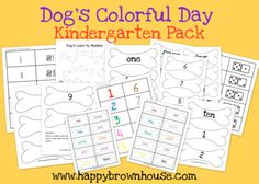 Free printable Dog's Colorful Day Kindergarten Pack from Sara @happybrownhouse