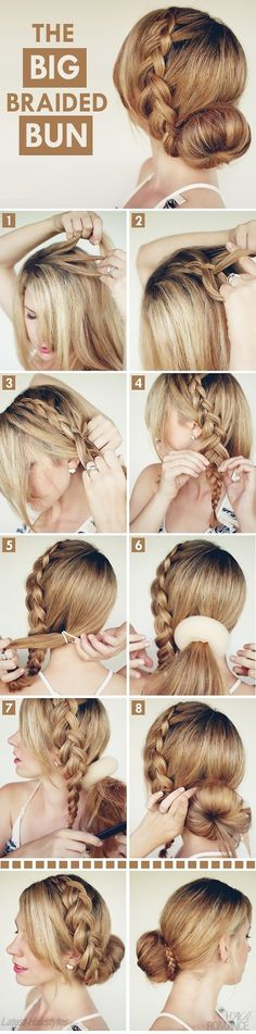 Big Braided Bun -  The big bun combines with a braid perfectly. When you style the look, you can make a braid first and then pin up a full bun. Finally, round the bun by the braid    - If you like this pin, repin it and follow our boards :-)  #FastSimpleFitness - www.facebook.com/FastSimpleFitness