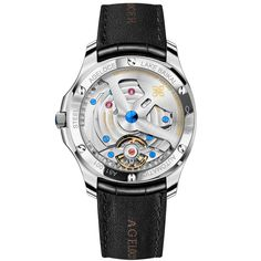 Watchcase: Stainless steel Jewel: 27 Movement: Frequency 28800 v.h 80 hours Power Reserve Transparent caseback Diameter 40 mm Thickness 10 mm Water-resistance 5 Bar Swiss Watch Brands, 5 Bar, 316l Stainless Steel, Watches For Men, Take That, Jewels, The Originals, Weapon, Leather