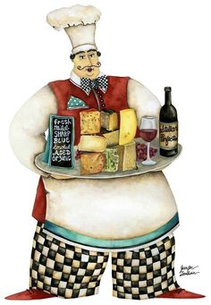 Wine And Cheese Chef. Artwork by Jennifer Lambein. Available as art prints in the Studio Petite shop.