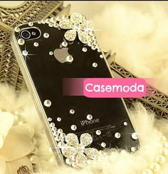 New Bling Sparkle Rhinestones Sliver Flowers Crystals iPhone Case Cover