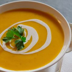 This easy vegetarian soup recipe is made with canned pumpkin and can be made a day ahead.