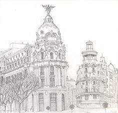 Dibujo del Edificio Metrópolis de Madrid Dibujo a lápiz. 15 x 15 cm.