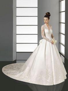 A-line/Princess V-neck Long Sleeves Lace Chapel Train Satin Wedding Dresses