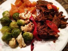 Pork, Brussels Sprouts And Cauliflower With Golden Beet Salad: 12/19/13