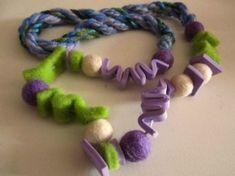 collana feltro crepla verde e blu