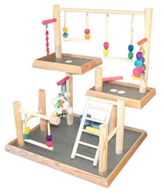 BirdsComfort Three Levels Bird Playgym, Bird Activity Center, Wood Tabletop Playstand for Cockatiels - Base: x , Overall Height: - 3 levels Diy Bird Cage, Bird Cage Stand, Cockatiel Toys, Budgies, Bird Play Gym, Parakeet Care, Parrot Stand, Diy Bird Toys, Hamster House