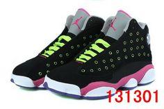 size 40 11519 6bc9f Girls Air Jordan 13 Retro Black-Pink Venom Green For Sale