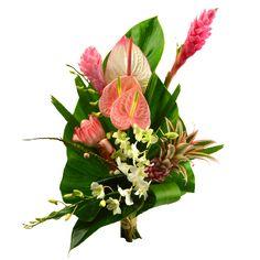 Frio est un splendide bouquet exotique tout en hauteur, composé de : 3 Anthuriums roses, 2 Alpinias roses 1 Rose de porcelaine 1 Ananas 2 Dendrodiums dont les fleurs sont fraîchement importées de notre plantation à la Martinique. Fleurs Lointaines.